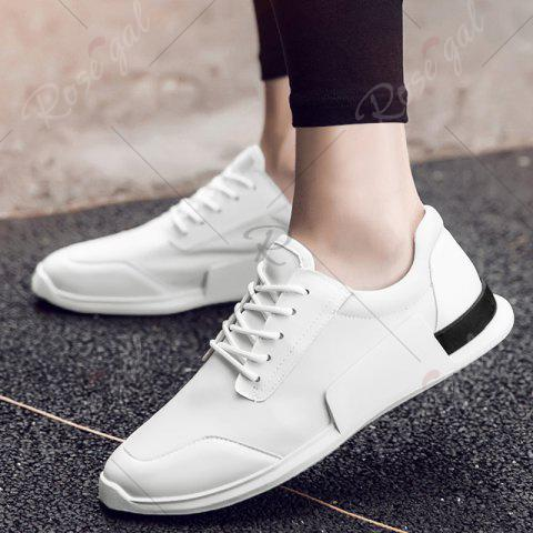 Store Tie Up Stretch Fabric Breathable Casual Shoes - 43 WHITE Mobile