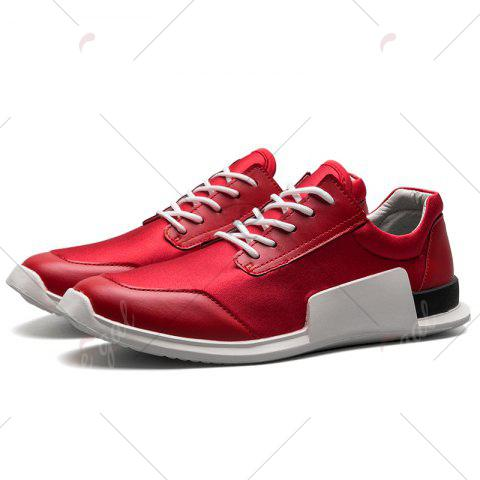 Discount Tie Up Stretch Fabric Breathable Casual Shoes - 43 RED Mobile