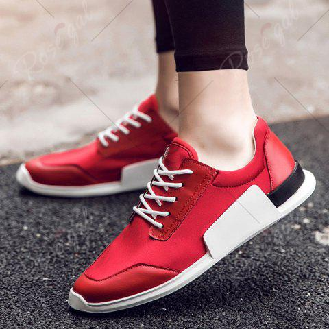 Buy Tie Up Stretch Fabric Breathable Casual Shoes - 43 RED Mobile
