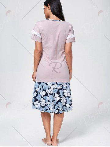 Discount Floral Embroidered Shift Cotton Sleep Dress - L LIGHT PINK Mobile
