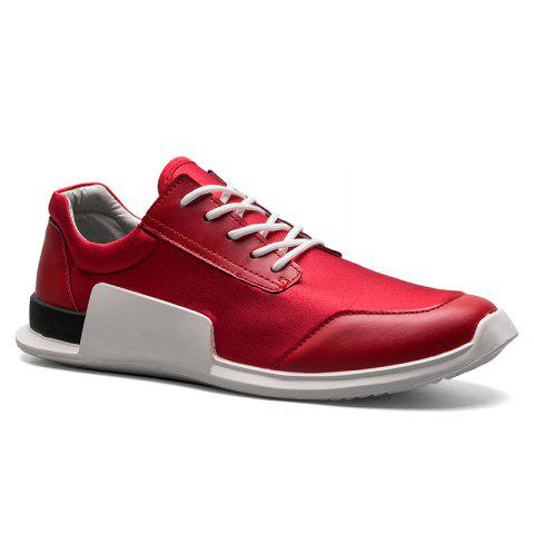 Tie Up Stretch Fabric Breathable Casual Shoes - Red - 40