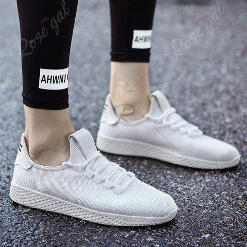 Outfit Mesh Lace Up Breathable Casual Shoes - 40 WHITE Mobile
