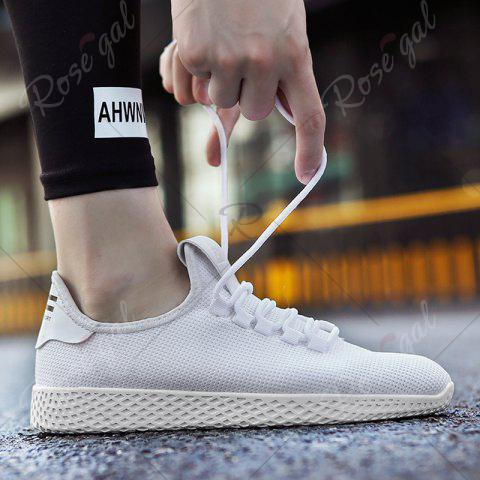 Chic Mesh Lace Up Breathable Casual Shoes - 40 WHITE Mobile