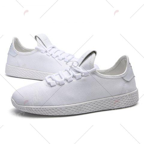 Outfits Mesh Lace Up Breathable Casual Shoes - 40 WHITE Mobile