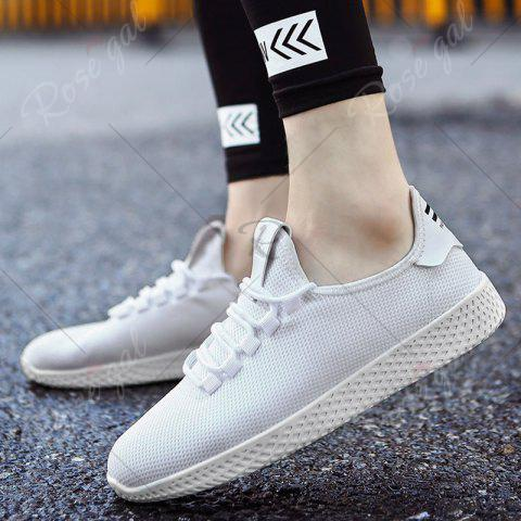 Latest Mesh Lace Up Breathable Casual Shoes - 40 WHITE Mobile