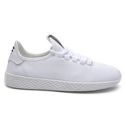 Shop Mesh Lace Up Breathable Casual Shoes - 40 WHITE Mobile