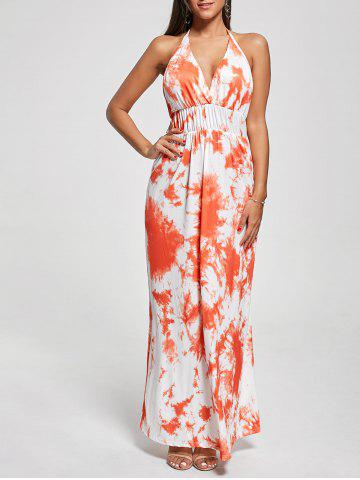 Unique Halter Printed Maxi Backless Summer Dress ORANGE XL