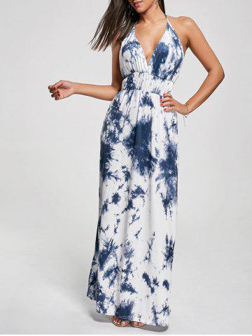 New Halter Printed Maxi Backless Summer Dress - XL BLUE Mobile