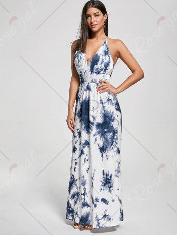 Store Halter Printed Maxi Backless Summer Dress - XL BLUE Mobile