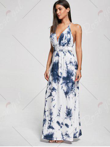 Outfit Halter Printed Maxi Backless Summer Dress - XL BLUE Mobile