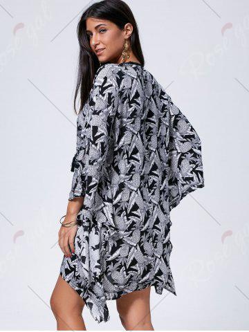 Outfit Lace Up Printed Kaftan Dress - L BLACK WHITE Mobile