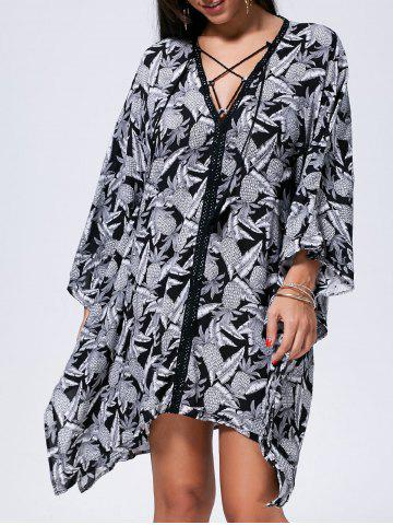 Outfit Lace Up Printed Kaftan Dress - M BLACK WHITE Mobile