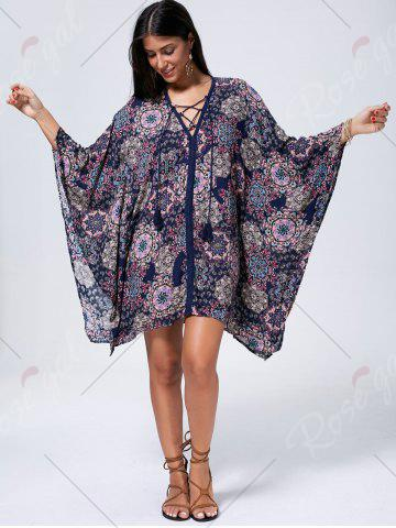 Cheap Lace Up Printed Kaftan Dress - L COLORMIX Mobile