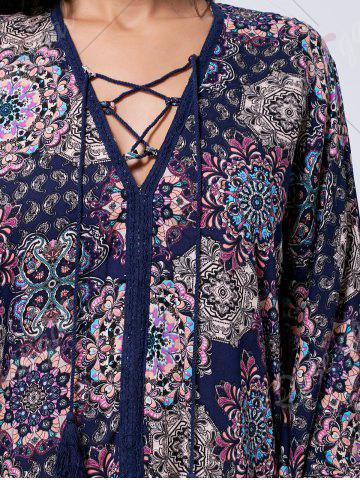 Sale Lace Up Printed Kaftan Dress - L COLORMIX Mobile