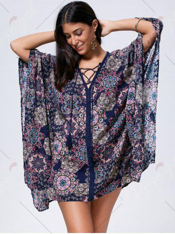Buy Lace Up Printed Kaftan Dress - L COLORMIX Mobile