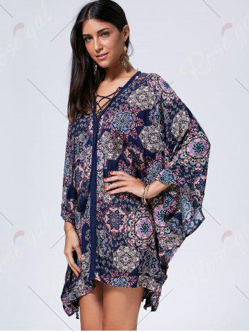 New Lace Up Printed Kaftan Dress - S COLORMIX Mobile