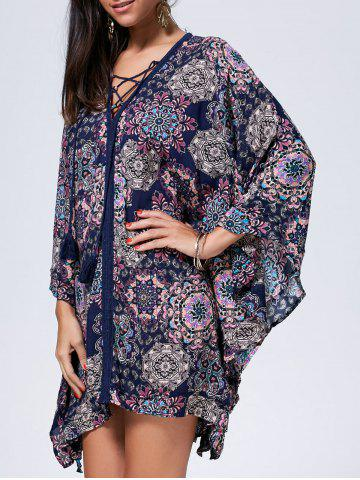 Cheap Lace Up Printed Kaftan Dress
