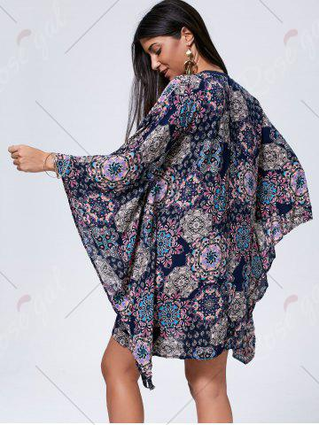 Store Lace Up Printed Kaftan Dress - S COLORMIX Mobile
