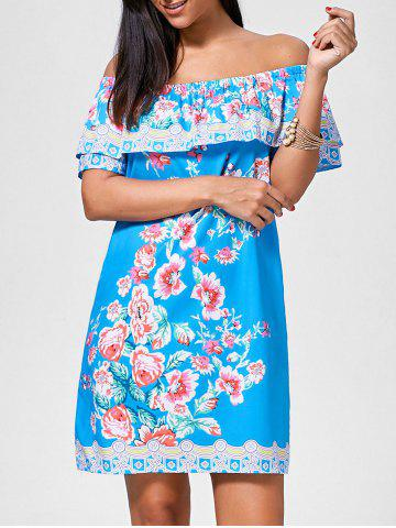 Floral Print Off The Shoulder Mini Dress - Lake Blue - Xl