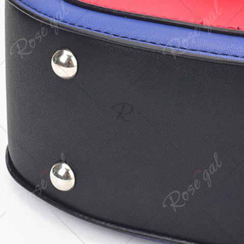 Hot Embroidery Color Block Saddle Bag - WHITE  Mobile