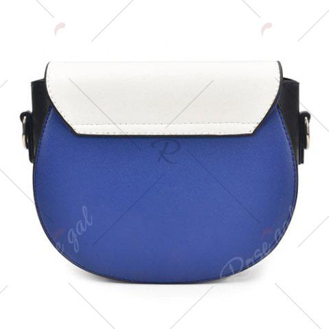 Chic Embroidery Color Block Saddle Bag - WHITE  Mobile