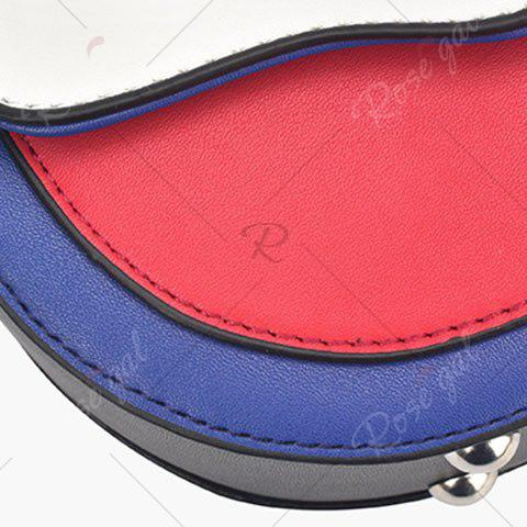 Store Embroidery Color Block Saddle Bag - WHITE  Mobile