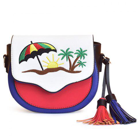 Trendy Embroidery Color Block Saddle Bag - RED WITH WHITE  Mobile