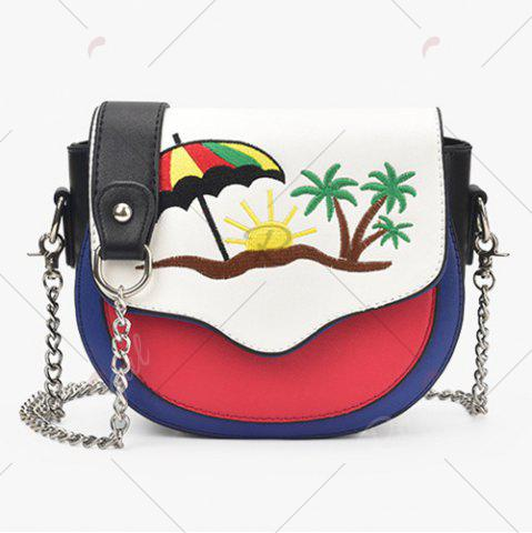 Unique Embroidery Color Block Saddle Bag - RED WITH WHITE  Mobile