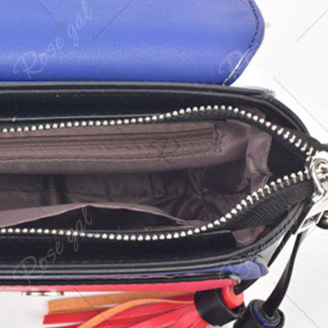 Affordable Embroidery Color Block Saddle Bag - RED WITH WHITE  Mobile