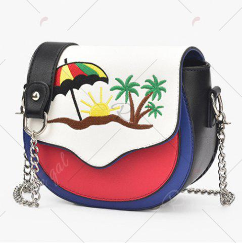 Buy Embroidery Color Block Saddle Bag - RED WITH WHITE  Mobile
