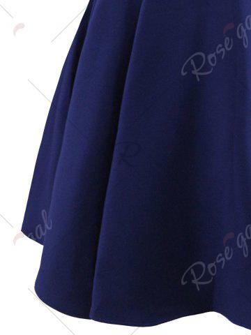 Fancy Vintage Bowknot Cap Sleeve Dress - S PURPLISH BLUE Mobile