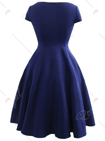 Affordable Vintage Bowknot Cap Sleeve Dress - S PURPLISH BLUE Mobile