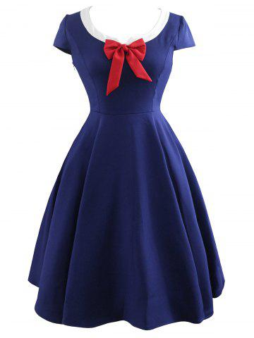 Shops Vintage Bowknot Cap Sleeve Dress - S PURPLISH BLUE Mobile