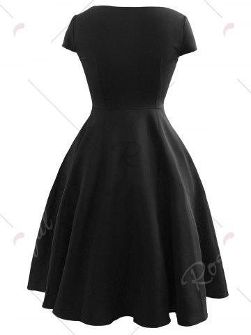 Sale Vintage Bowknot Cap Sleeve Dress - 2XL BLACK Mobile