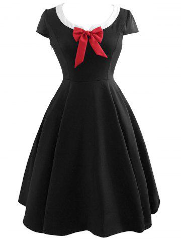 Cheap Vintage Bowknot Cap Sleeve Dress - 2XL BLACK Mobile