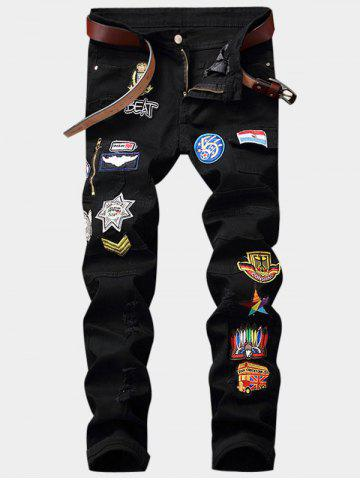Cartoon Embroidered Appliques Zipper Fly Pocket Ripped Jeans - Black - 36