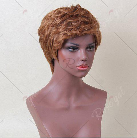 Online Siv Hair Short Inclined Bang Layered Curly Human Hair Wig - AUBURN BROWN #30  Mobile