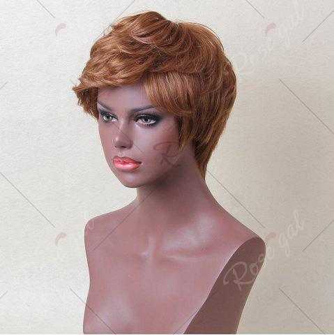 Outfit Siv Hair Short Inclined Bang Layered Curly Human Hair Wig - AUBURN BROWN #30  Mobile