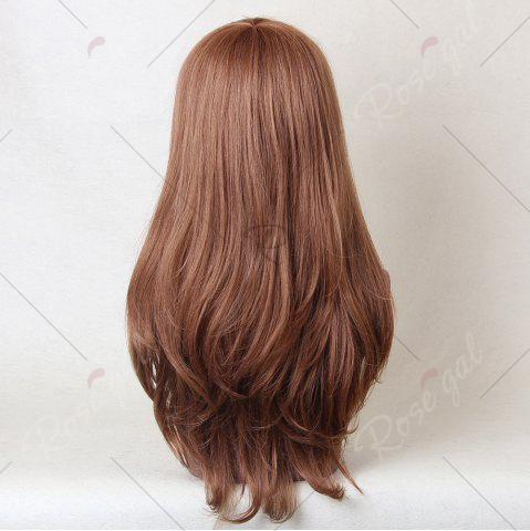 Cheap Long Oblique Bang Layered Tail Adduction Straight Human Hair Wig - AUBURN BROWN #30  Mobile