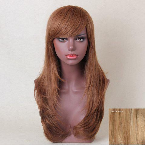 Chic Long Oblique Bang Layered Tail Adduction Straight Human Hair Wig - BLONDE  Mobile