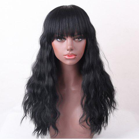 Long Neat Bang Shaggy Natural Wave cheveux humains perruque JET NOIR #01