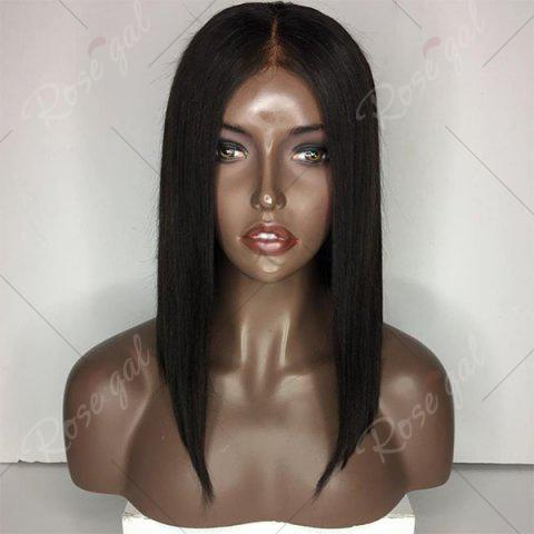 Shop Medium Center Parting Straight Bob Lace Front Human Hair Wig - NATURAL BLACK  Mobile