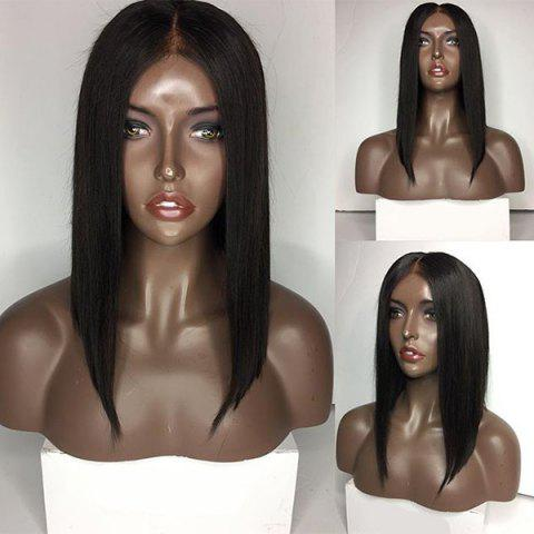 Medium Center Parting Straight Bob Lace Front Hair Hair Wig Naturel Noir