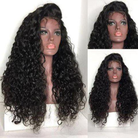 Online Long Free Part Shaggy Water Wave Lace Front Human Hair Wig - NATURAL BLACK  Mobile