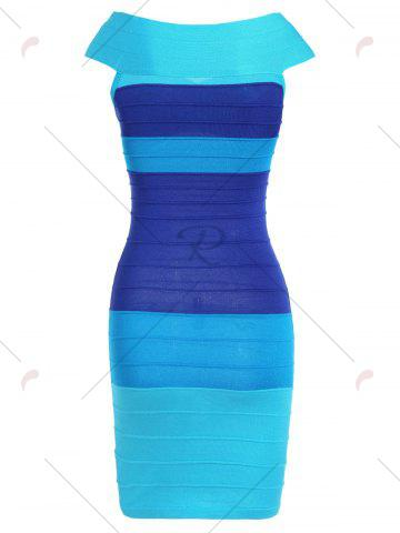 Sale Striped Cape Sleeve Color Block Bandage Dress - ONE SIZE BLUE Mobile
