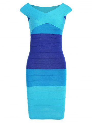 Cheap Striped Cape Sleeve Color Block Bandage Dress - ONE SIZE BLUE Mobile