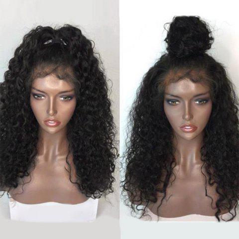 Trendy Free Part Long Shaggy Natural Wave Lace Front Human Hair Wig - NATURAL BLACK  Mobile