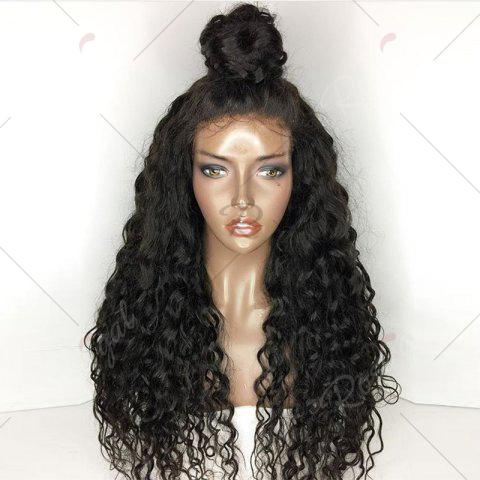 Sale Free Part Long Shaggy Natural Wave Lace Front Human Hair Wig - NATURAL BLACK  Mobile