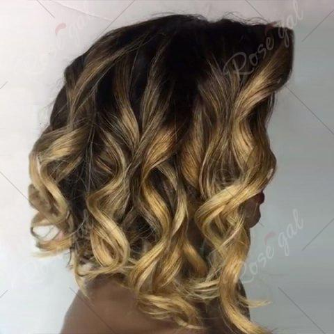 Affordable Deep Side Part Short Loose Wavy Bob Colormix Lace Front Human Hair Wig - GOLDEN YELLOW  Mobile