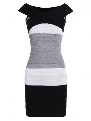 Affordable Striped Cape Sleeve Color Block Bandage Dress - ONE SIZE BLACK Mobile